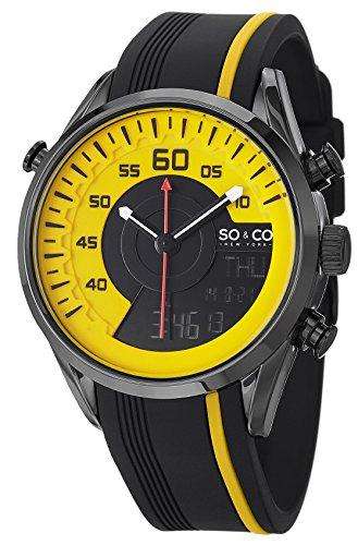 SO&CO New York Men's 5044.3 SoHo Quartz Analog Digital Yellow Dial Rubber Strap Watch (Digital Blue Dial Rubber Strap)