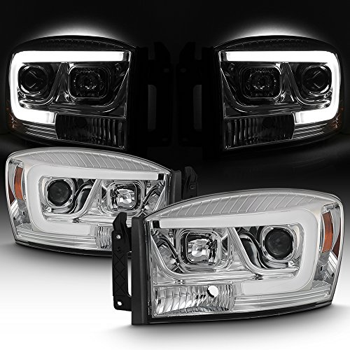 For 2006-08 Dodge RAM 1500 + 2006-09 Dodge RAM 2500/3500 LED Daytime Running Lamp Bar Projector Headlights Chrome Set