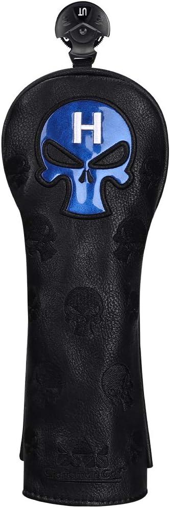 Craftsman Golf - Funda híbrida de piel sintética para rescate de golf, diseño de calavera azul y negro