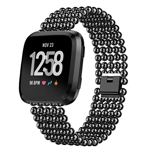 NewKelly Watchband for Fitbit Versa,Five Beads Round Beads Alloy (Beads 16mm 5)