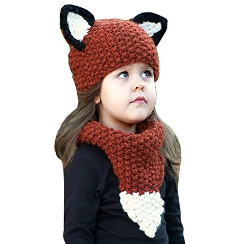 Warm Baby Boys Girls Hat Scarf Set Cute Knitted Cotton Hats(Red) - 5