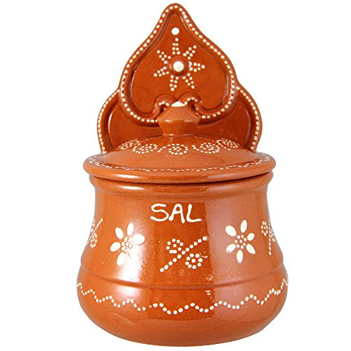 Vintage Portuguese Traditional Clay Terracotta Pottery Salt Holder Made In Portugal ()