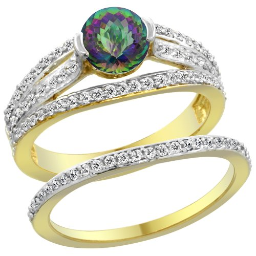 14K Yellow Gold Natural Mystic Topaz 2-piece Engagement Ring Set Round 6mm, sizes 5 - 10