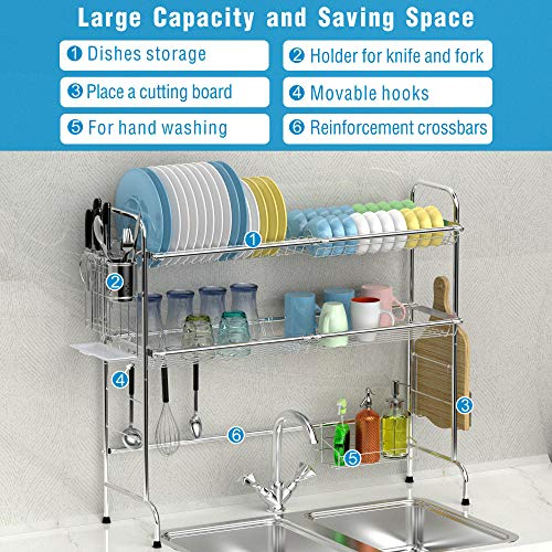 Over The Sink Dish Drying Rack Ace Teah 2 Tier Large