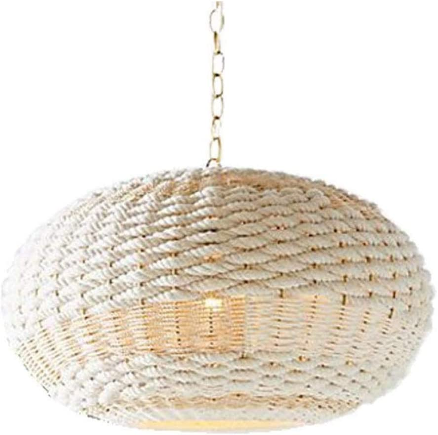 HSLJ1 Hand-Woven Hemp Rope Chandeliers, Nordic Style Pendent Light White Round Ceiling Lamp Personality Lighting Furniture Vintage Bamboo Family Bedroom Balcony Decoration