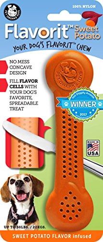 Pet Qwerks Flavorit -Sweet Potato Flavored Nylon Bone for Aggressive Chewers (Made in The USA)
