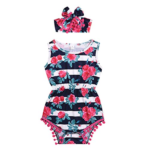 Fyhuzp Floral Baby Girls Romper, Sleeveless Tassel Romper One-Pieces +Headband Sunsuit Outfit Infant Clothes White (10 Piece Cartridge)