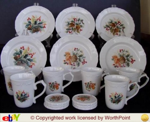 Gibson Grand Nobility 18 Piece Dessert Set Service For 6 (Gibson Christmas Holly Berry Dishes)