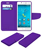 Acm Leather Flip Wallet Case for Micromax Canvas Unite 4 Plus Mobile Cover Purple