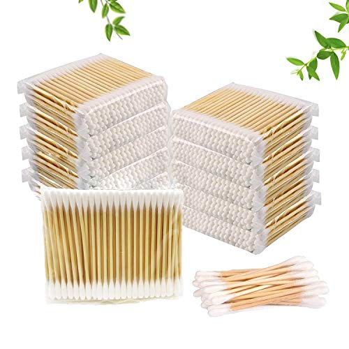 1000 Count Cotton Swabs by means of XUMZEE, Sturdy Bamboo Sticks with Thick Cotton, Small Packages Suit for Travel and Storage, Biodegradable, Chlorine-Free Hypoallergenic Cotton Buds