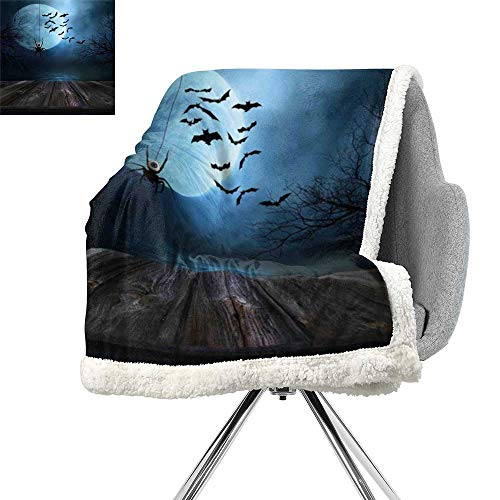 ScottDecor Halloween Decorations Lightweight Fluffy Flannel and Sherpa Blanket,Misty Lake Scene Rusty Wooden Deck Spider Eyeball and Bats Moonlight,Blue Brown,for Bed,Couch,Sofa,Chair,W59xL31.5 Inch