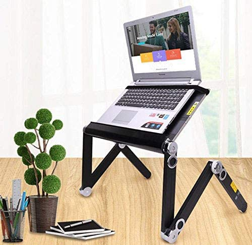 ZOUQILAI Adjustable Laptop Table Portable Aluminum Foldable Notebook Desk Notebook Cooling Pad Bed Sofa Computer Table Color : Black
