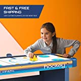Lanos Air Hockey Table for Kids and Adults | 5 Foot Air Hockey Game Table with Electronic Scoreboard, Powerful Dual-Air Blowers, 4 Pushers, and 2 Hockey Pucks | Ice Hockey Game Room Table