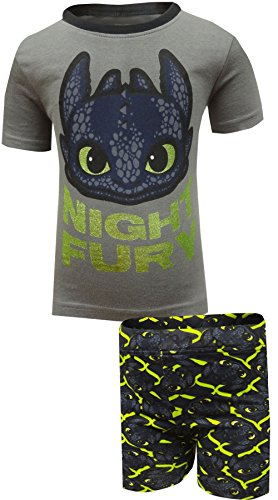 Intimo Little Boys' How To Train Your Dragon 'Night Fury' Pajama Short Set, Black, 6/7 (Fury Dragon Night)