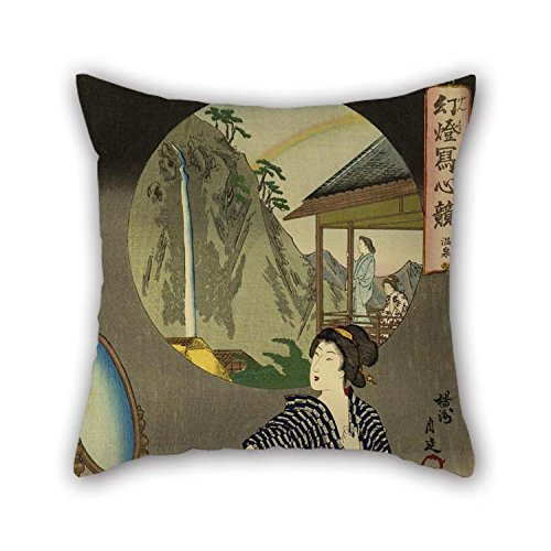 beeyoo Oil Painting Toyohara Chikanobu - Japanese Inn at Hot Springs Pillow Shams Best for Kitchen Indoor Home Theater Festival Bar Club 18 X 18 Inches / 45 by 45 cm(Twice Sides)