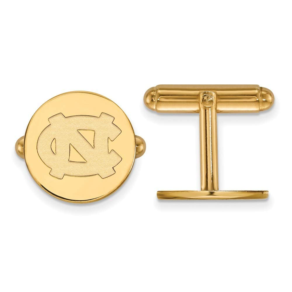 Roy Rose Jewelry Sterling Silver with 14K Yellow Gold-plated LogoArt University of North Carolina Cuff Links