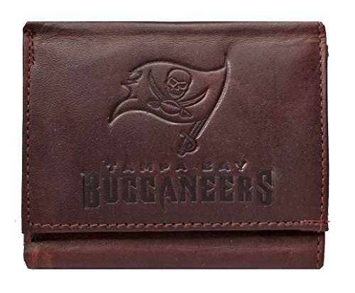 Tampa Bay Buccaneers Money Clip - Tampa Bay Buccaneers NFL Embossed Logo Dark Brown Leather Trifold Wallet
