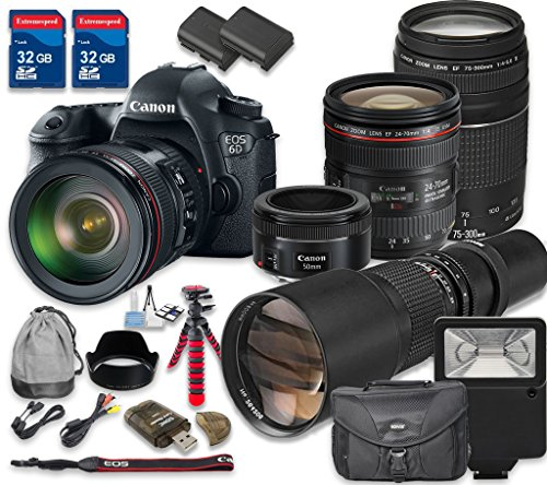 Canon-EOS-6D-Digital-SLR-Camera-with-Canon-EF-24-70mm-f4L-IS-USM-Lens-Canon-EF-75-300mm-f4-56-III-Lens-Canon-EF-50mm-f18-STM-Lens-500mm-f8-Telephoto-T-Mount-Lens-International-Model