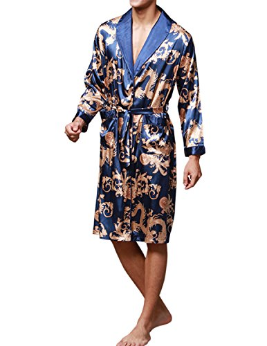Haseil Men's Satin Robe Dragon Chinese Silk Spa Long Sleeve House Kimono Bathrobe, Royal Blue, Tagsize2XL=USsizeL