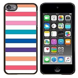 TECHCASE---Cubierta de la caja de protección para la piel dura ** Apple iPod Touch 6 6th Touch6 ** --Playa líneas blancas en colores pastel colorido