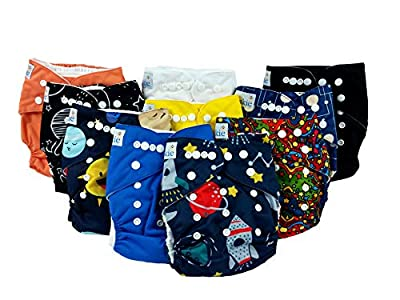 Nakie Baby Pocket Cloth Diaper 10 Set Space Theme Eco Washable Reusable One Size Adjustable