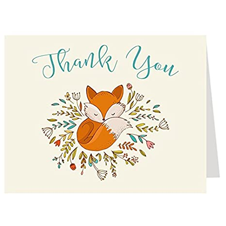 Amazon Com Fox Thank You Cards Wreath Woodland Forest Friend