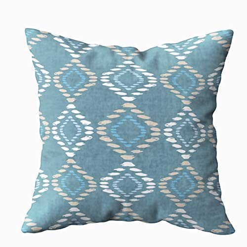 Asdecmoly Best, Decorative Pillowcase Ethnic Boho Pattern Ikat Print Repeating Cover for Kids Square 18X18 Inchs Home Sofa Bed Travel Gift