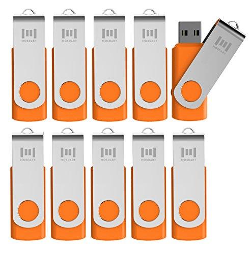 mosDART 16GB 10 Pack Bulk USB 2.0 Flash Drives Swive Design Thumb Drives with Led Indicator,Orange 10pcs