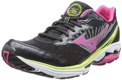 Mizuno Women's Wave Rider 16 Running Shoe,Anthracite/Beetroot,6 B US