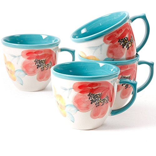 (The Pioneer Women Decorated Coffee Cup Floral Turquoise, Set of 4)