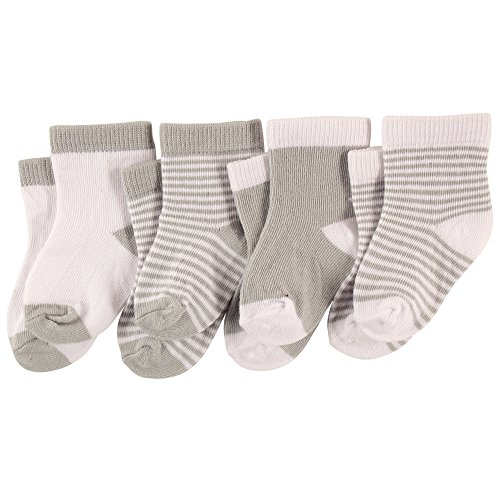 Luvable Friends Baby Basic Crew Socks 4-Pack, Gray, White, 0-6 Months