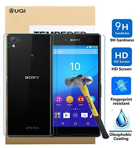 Sony Xperia Z3+ Screen protector, KuGi ® Ultra-thin 9H Hardness High Quality HD clear Premium Tempered Glass Screen Protector for Sony Xperia Z3+ / Z3 plus smartphone (Front and Back)