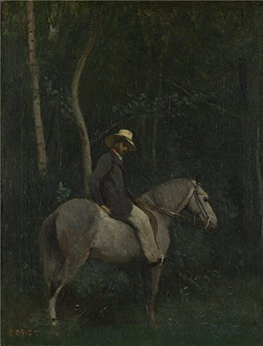 High Quality Polyster Canvas ,the Reproductions Art Decorative Canvas Prints Of Oil Painting 'Jean Baptiste Camille Corot Monsieur Pivot On Horseback ', 24 X 31 Inch / 61 X 80 Cm Is Best For Home Theater Artwork And Home Decor And Gifts ()