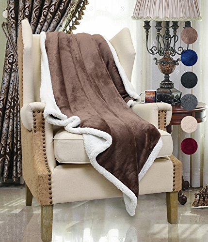 Micro Mink Sherpa Throw (Brown Sherpa Throws Blanket , Super Soft Micro Mink Fleece Couch Blanket Reversible Bed Throw TV Blanket Comfort Caring Gift 50