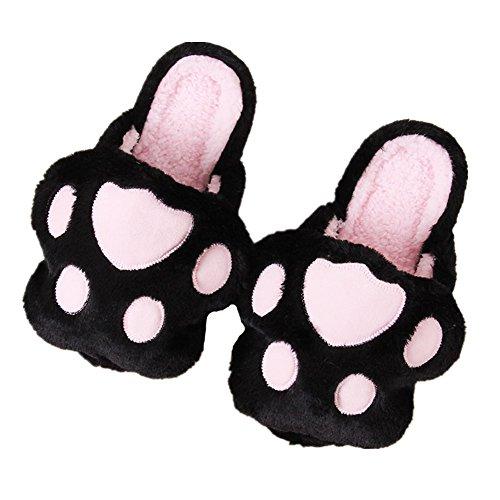 A Minetom Slipper Intérieure Femmes Pantoufles Chaussons Patte Unisex d'ours Noir Hiver Hommes Chaudes Coton Peluche Chaussons q6nrqRO7W