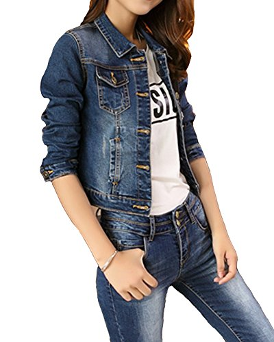 Jeans Slim Denim Bleu Femme Veste Manteau Jacket Veste Court Fit Denim Manteau qFFfawzEx