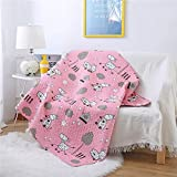 Abreeze Cotton Cute Pink Donkey Coverlet Quilt Bedspread Baby Throw Blanket for Kid's Girl & Boys Kindergarten Air Quilt (43' X 51')