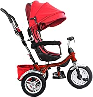 Red Little Bambino 4 in 1 Canopy Kids Tricycle for Toddler Age 1-6 Years Trike /'n Ride Bike Push Handle Buggy Pram