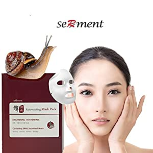 Serment Korean Cosmetics Rejuvenating Snail Mask 10 Pack, Brightening, Anti-wrinkle, Skin Tightening