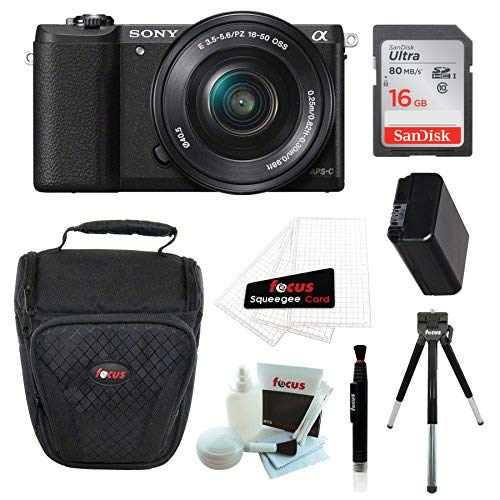 Sony Alpha a5100 Mirrorless Camera with 16-50mm Lens (Black) and 16GB Accessory Bundle