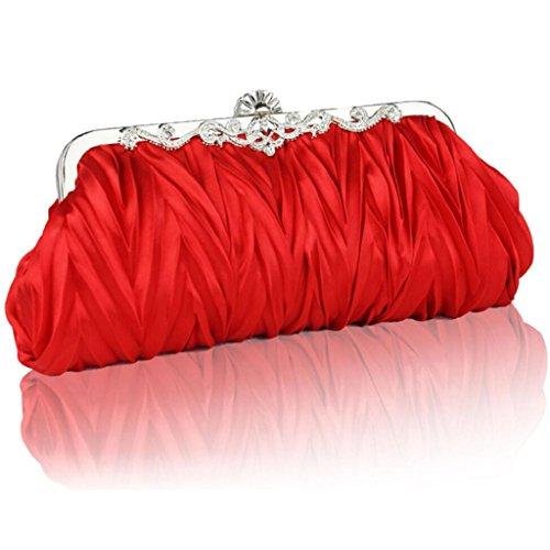 PRIAMS 7 - Cartera de mano de Satén para mujer Red