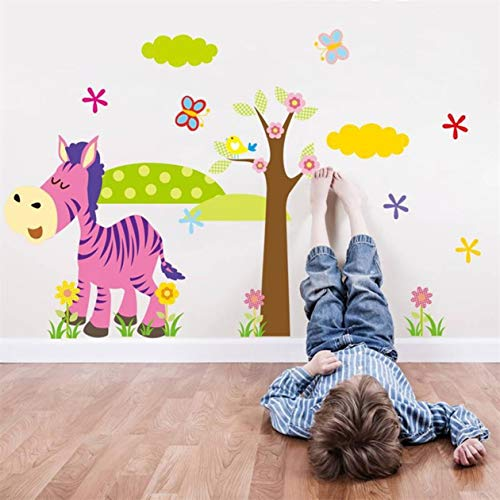 1 Pc Cartoon Animal Forest Pvc For Nursery And Kids Room 3D Wallpapers Childrens Wall Stickers Flowers Animals Map Decal Girls Bedroom Bumper Decals Immaculate Popular Vinyl Mural Art Decor, Type-02