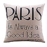 "Onker Cotton Linen Square Decorative Throw Pillow Case Cushion Cover 18"" x 18"" Quotes Paris is Always a Good Idea"