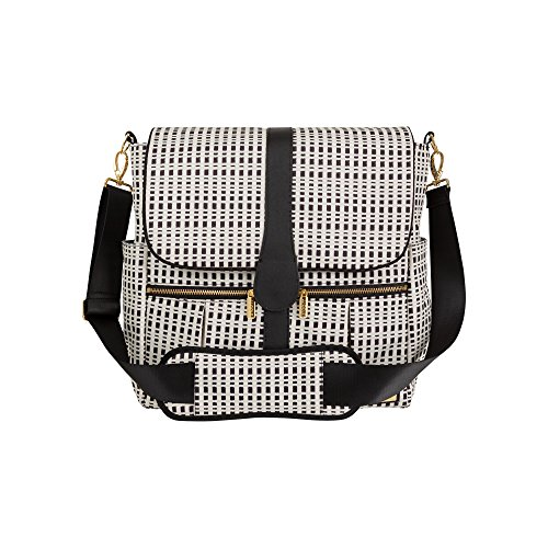 JJ Cole Backpack Diaper Bag with No Slip Grips and Multiple Pockets, Cream & Black