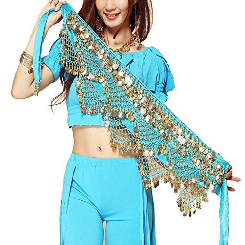 Pilot-trade Women's Sweet Bellydance Hip Scarf With Gold Coins Skirts Wrap Noisy (One size, Sky Blue)
