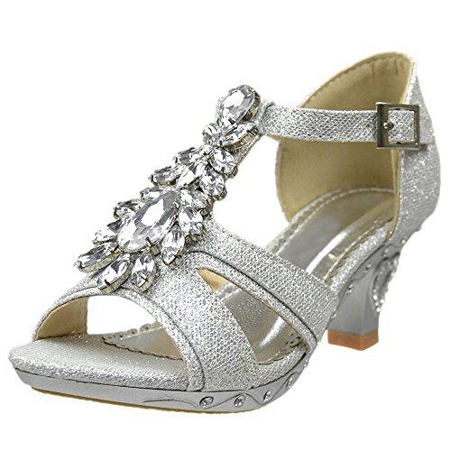 Girls T-Strap Rhinestone Jewel Glitter Pageant Dress High Heel Sandals Silver