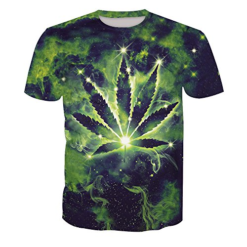 be7bf44b8ab5 Angelteers Unisex s Galaxy Hemp Weed T-Shirt Marijuana Leaf Tees  Psychedelic Clothes (Galaxy Weed