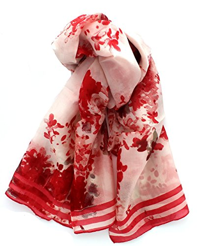 Z&HTrends Womens Genuine Silk Scarf (Small, Coral Abstract Flowers)