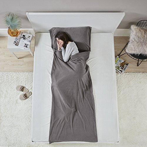 Comfort Spaces Lightweight Sleeping Bag Liner Sheet - Travel Sleeping Bag - Grey - Hypoallergenic Fleece Anti Bug/Germs with Pillow Pocket and Travel Pouch - Traveling Camp Hotel and Backpacking ()