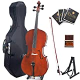 Cecilio CCO-500 Ebony Fitted Flamed Solid Wood Cello with Hard & Soft Case, Stand, Bow, Rosin, Bridge and Extra Set of Strings (4/4-Size, Varnish)
